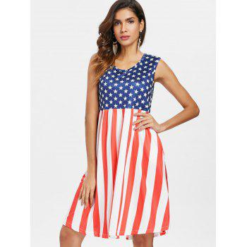 Patriotic American Flag Mid Calf Dress - multicolor S