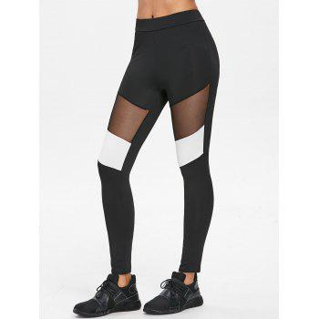 Mesh Panel Color Block Leggings - BLACK S