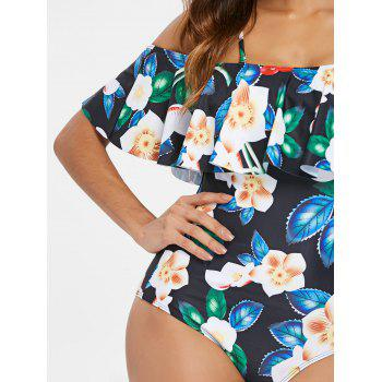 Cold Shoulder Ruffle Floral Swimsuit - multicolor L