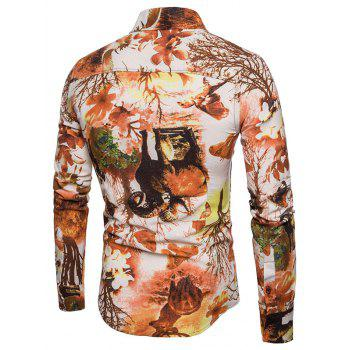 Autumn Forest Creatures Print Long Sleeve Shirt - LIGHT BROWN 2XL