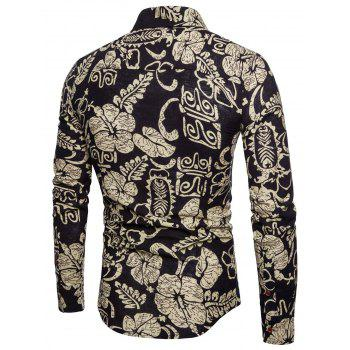 Ethnic Floral Print Long Sleeve Button Up Shirt - BLACK XL