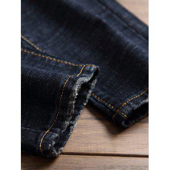 Straight Leg Embroidery Embellished Jeans - DARK SLATE BLUE 34