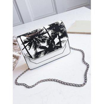 Print PU Leather Flap Casual Outdoor Crossbody Bag - WHITE