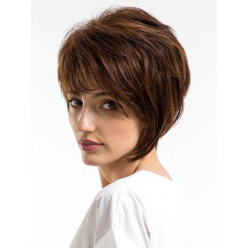 Short Side Bang Capless Straight Human Hair Wig - COFFEE