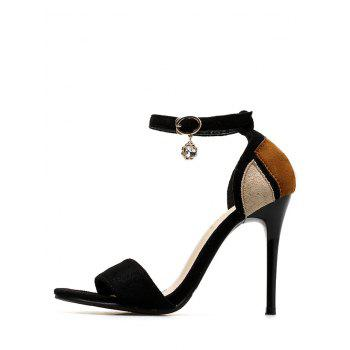 Chic Stiletto Heel One Strap Color Block Sandals for Party - BLACK 36