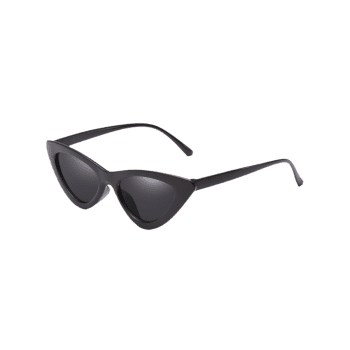 Vintage Full Frame Flat Lens Catty Sunglasses - BLACK