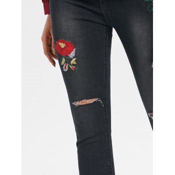 High Waist Distressed Jeans with Embroidery - BLACK XL