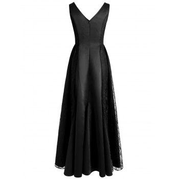 Lace Panel Maxi Formal Dress - BLACK 2XL