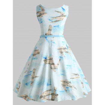 Musical Notation and Birds Printed Flared Dress - LIGHT SKY BLUE L