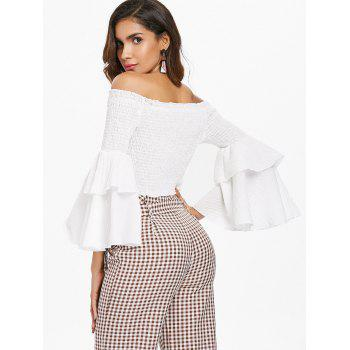 Off The Shoulder Shirred Crop Top - WHITE S
