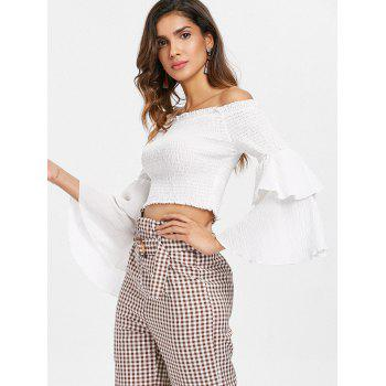 Off The Shoulder Shirred Crop Top - WHITE M