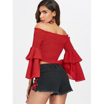Off The Shoulder Shirred Crop Top - RED XL