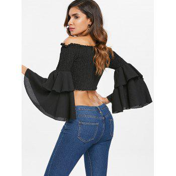 Off The Shoulder Shirred Crop Top - BLACK S