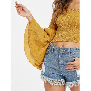 Off The Shoulder Shirred Crop Top - YELLOW S