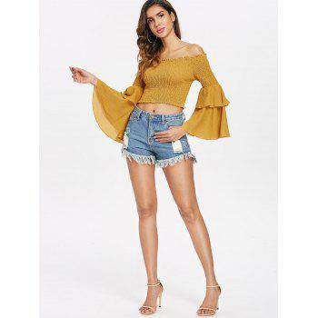 Off The Shoulder Shirred Crop Top - YELLOW XL