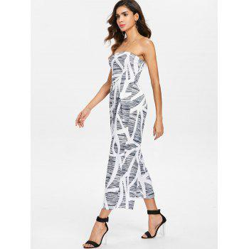 Printed Wide Leg Jumpsuit - GRAY S
