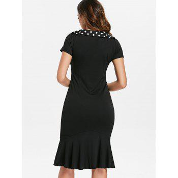 Bowknot Embellished Bodycon Mermaid Dress - BLACK L