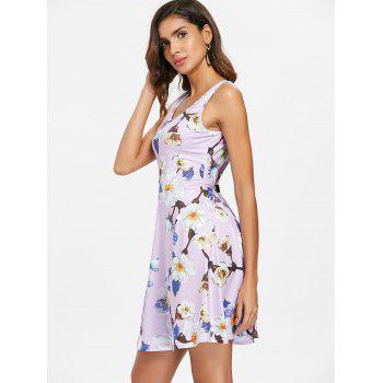 Sleeveless Floral Print Flare Dress - multicolor L