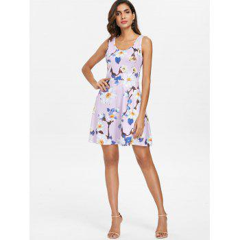 Sleeveless Floral Print Flare Dress - multicolor S