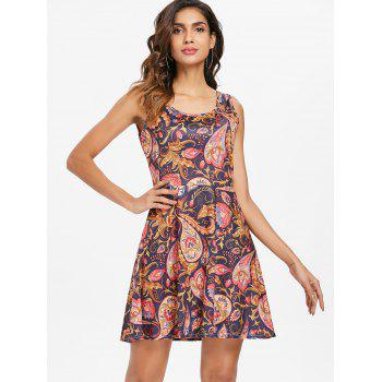 Ethnic Print Sleeveless Fit and Flare Dress - multicolor XL