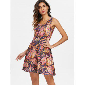 Ethnic Print Sleeveless Fit and Flare Dress - multicolor L