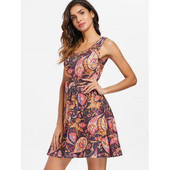 Ethnic Print Sleeveless Fit and Flare Dress - multicolor 2XL