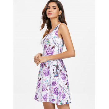 Round Neck Flowers Print Mini Dress - multicolor XL