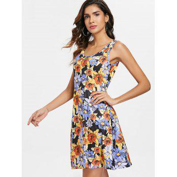 Sleeveless Floral Pattern Mini Dress - multicolor XL