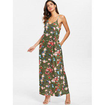 Floral Print Ankle Length Dress - CAMOUFLAGE GREEN XL