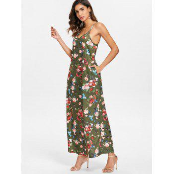 Floral Print Ankle Length Dress - CAMOUFLAGE GREEN L