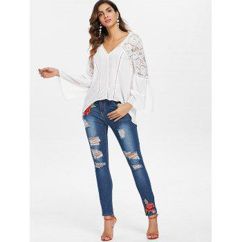 Embroidered Applique Skinny Distressed Jeans - DENIM DARK BLUE XL