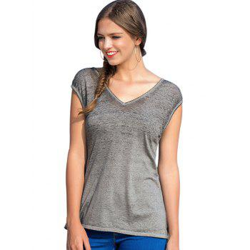 Cut Out Back Short Sleeve Basic T-shirt - GRAY M