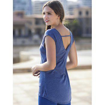 Cut Out Back Short Sleeve Basic T-shirt - BLUE JAY L