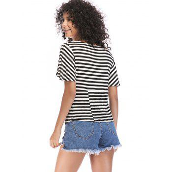 Knotted Front Striped Short Sleeve Tee - BLACK XL