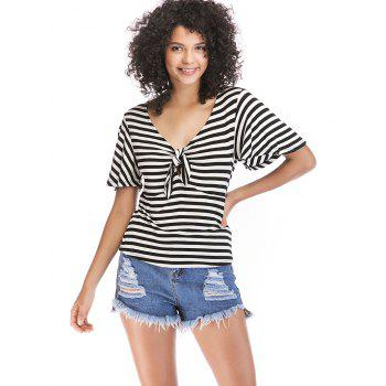Knotted Front Striped Short Sleeve Tee - BLACK L