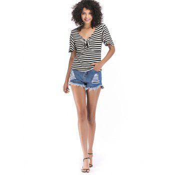 Knotted Front Striped Short Sleeve Tee - BLACK M