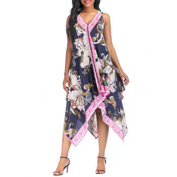 V Neck Asymmetrical Sleeveless Printed Dress - multicolor A S