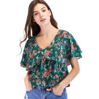 Ruffle Sleeve Floral Print Casual Blouse - multicolor A M