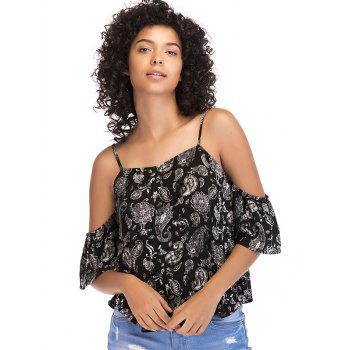 Tribal Print Cold Shoulder Casual Blouse - BLACK XL