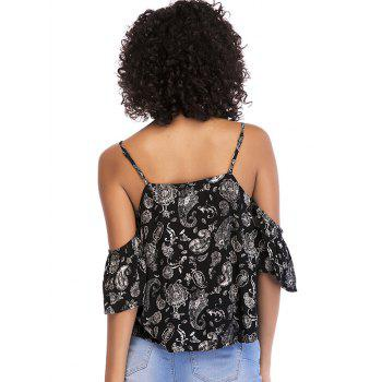 Tribal Print Cold Shoulder Casual Blouse - BLACK S