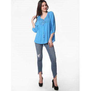 Pleated Long Sleeve Casual Blouse - BUTTERFLY BLUE L