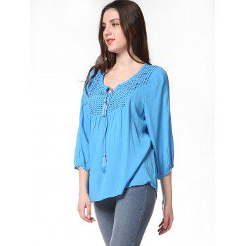 Pleated Long Sleeve Casual Blouse - BUTTERFLY BLUE M