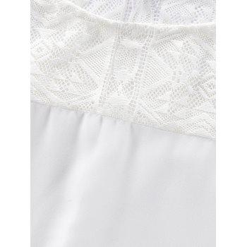 Round Neck Lace Batwing Sleeve Loose Blouse - WHITE XL