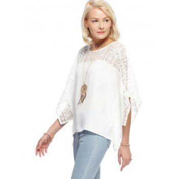 Round Neck Lace Batwing Sleeve Loose Blouse - WHITE L