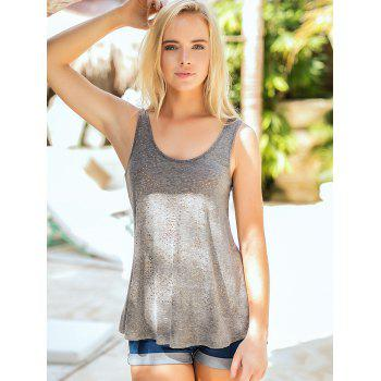 Studded Embellished Casual Sleeveless Top - GRAY L
