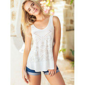 Studded Embellished Casual Sleeveless Top - MILK WHITE L
