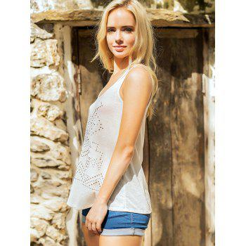 Studded Embellished Casual Sleeveless Top - MILK WHITE S