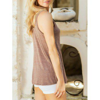 Studded Embellished Casual Sleeveless Top - LIGHT BROWN M