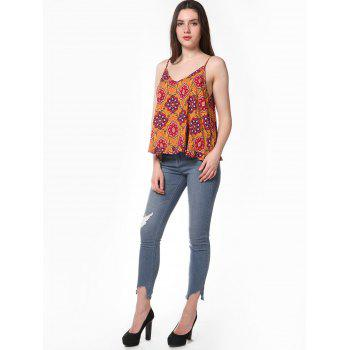 Tribal Print V Neck Sleeveless Blouse - multicolor A XL