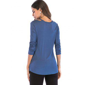 V Neck Cut Out Shoulder Top - ROYAL BLUE L
